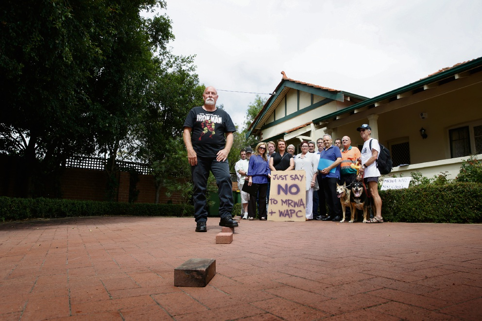 Residents and business owners opposed to the plan to widen Guildford Road. Picture: Andrew Ritchie.