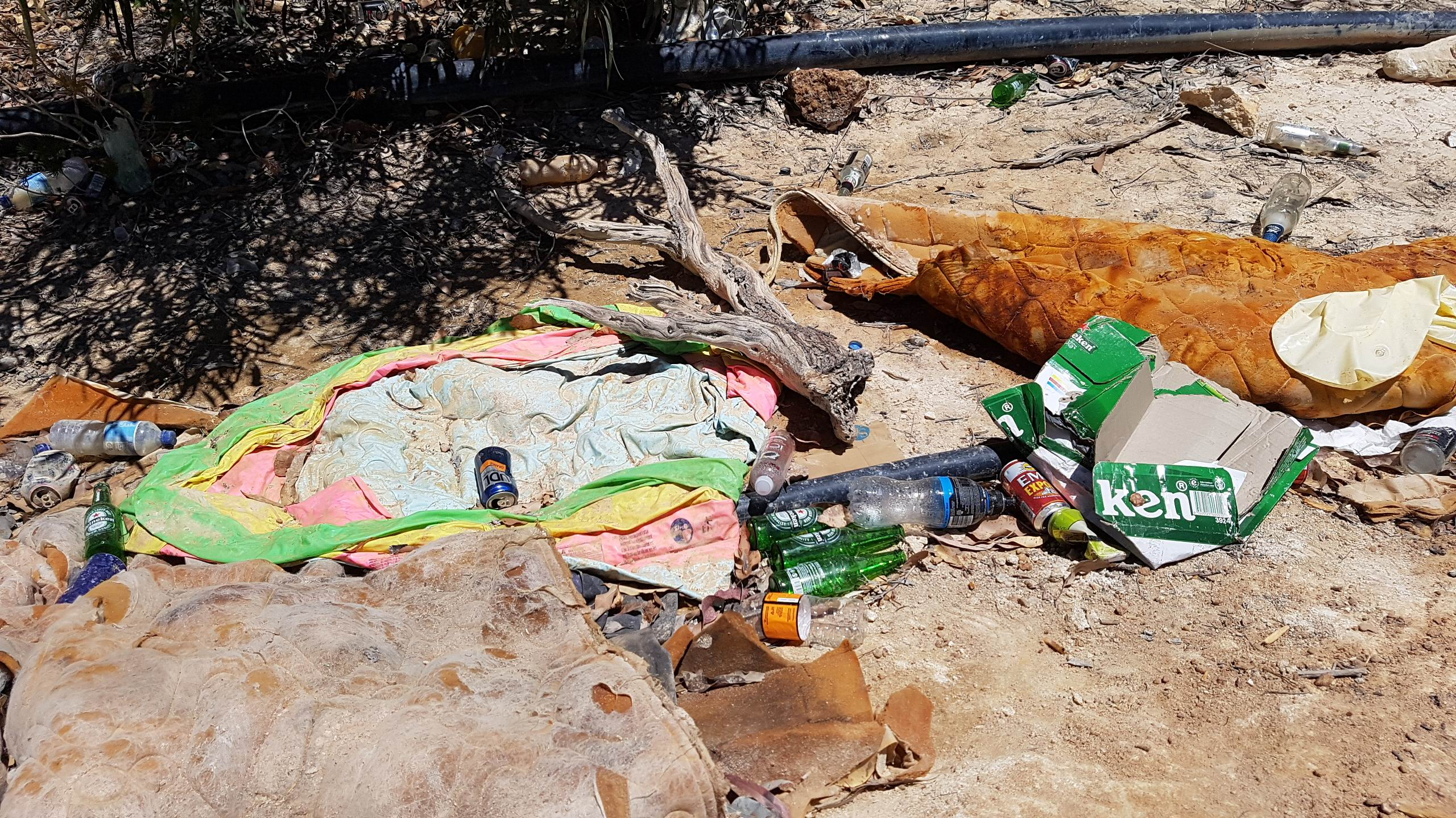 Rubbish abandoned at Red Hill quarry. Picture: Lynn Grierson.