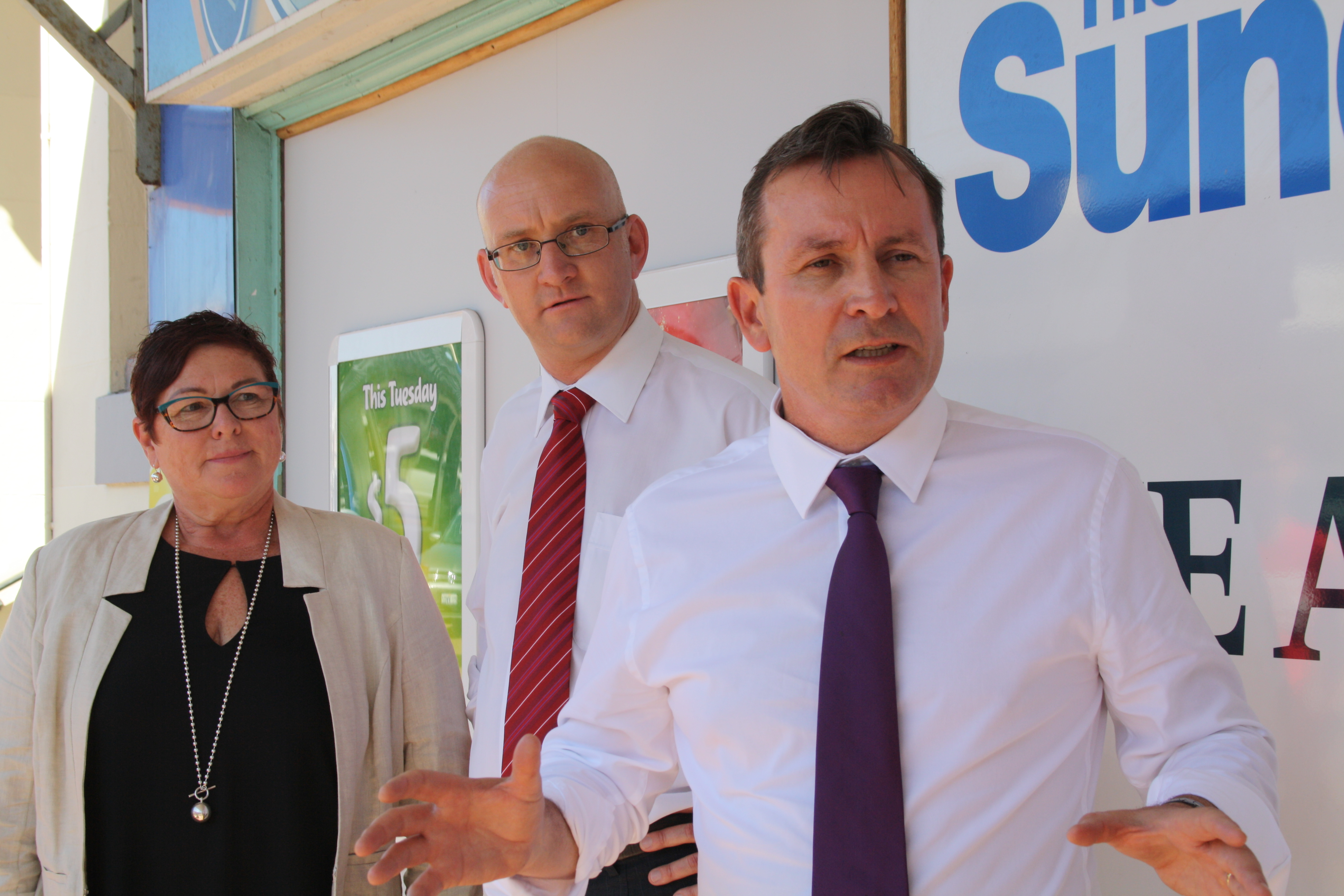 Maylands MLA Lisa Baker, Mt Lawley Labor candidate Simon Millman and opposition leader Mark McGowan. Picture: Giovanni Torre.