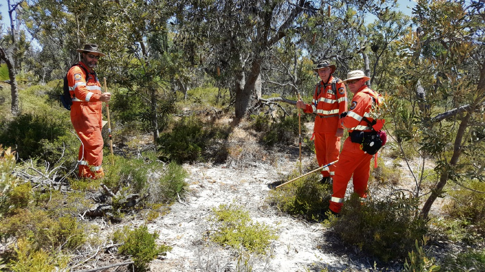 Stirling SES members Ant Rees and Greg Buck with Bayswater SES member Cary Wintle. Picture: Darren Wyatt