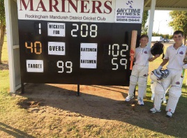 Mitchell Zadow and Teague Wyllie had a 152-run winning partnership for the Rockingham-Mandurah Under-13 team.