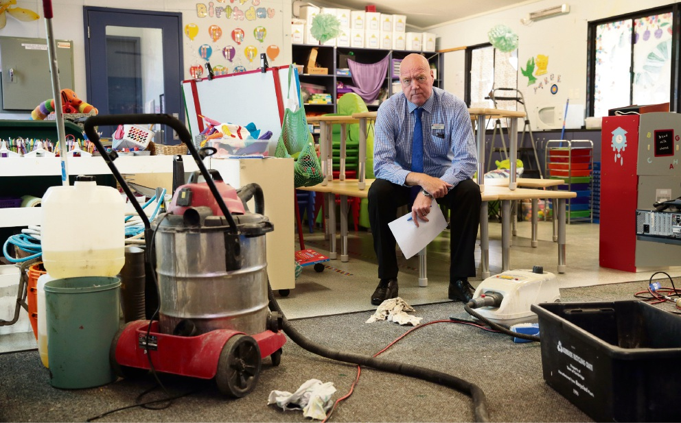 "Principal Geoff Smith in the vandalised kindergarten classroom. ""Obviously our students were disappointed.""