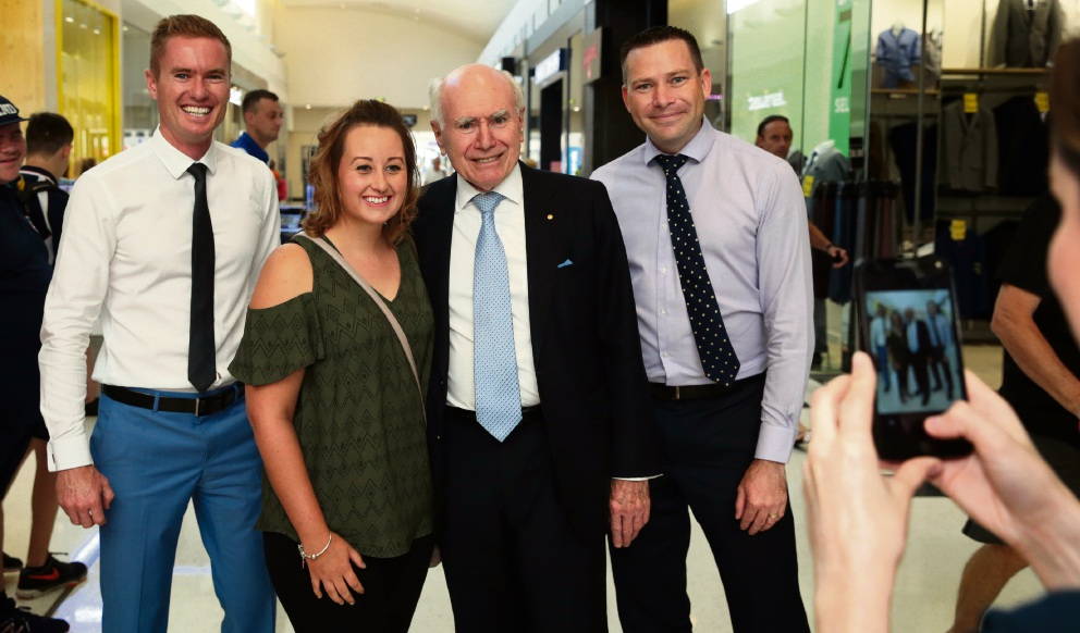 Former PM Howard hits Liberal campaign trail in Joondalup
