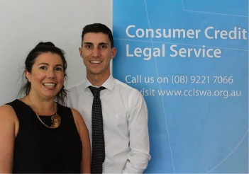 Lawrence Page with Consumer Credit Legal Service of WA principal solicitor Gemma Mitchell.