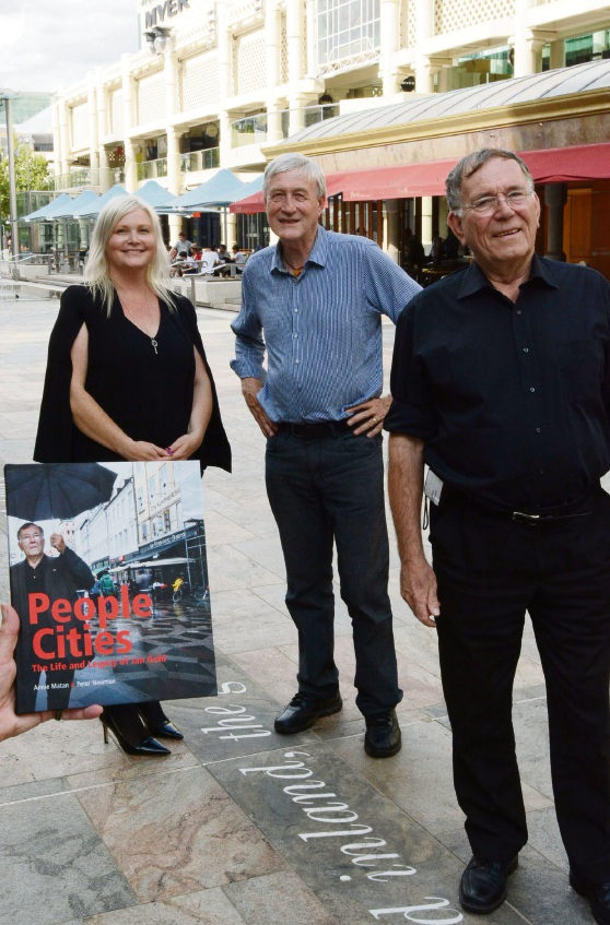 Urban renewal by acclaimed Dane Jan Gehl (right) is celebrated in the book by (rear, l-r) Curtin University's Annie Matan and Professor Peter Newman. Picture: Jon Bassett.