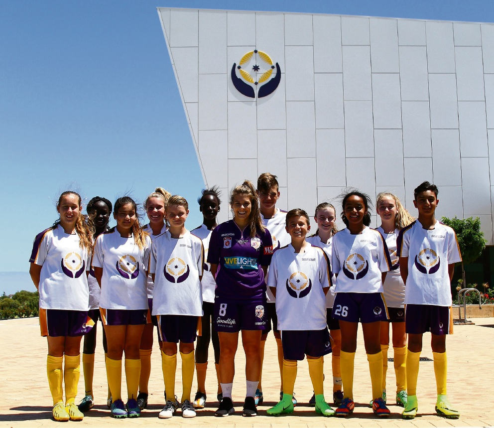 Shawn Billam with Irene McCormack Catholic College Year 8 soccer academy students.