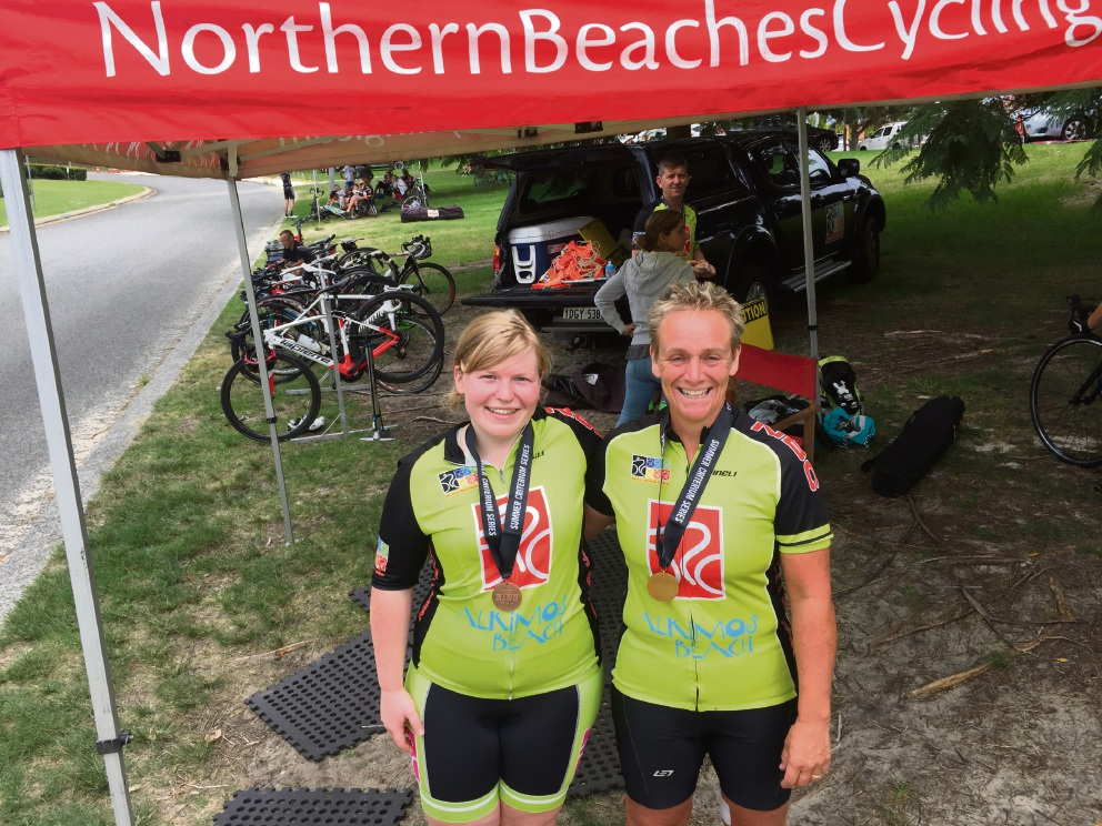 Northern Beaches Cycling Club's  Harriet Newson and Anne Boyle.
