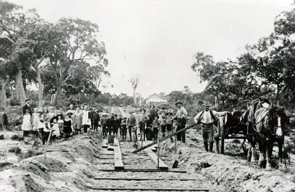 Construction of the Wanneroo plank road in about 1905.