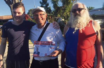 Luke and Peter Mickan with David Templeman (centre) on the day before the 2017 election