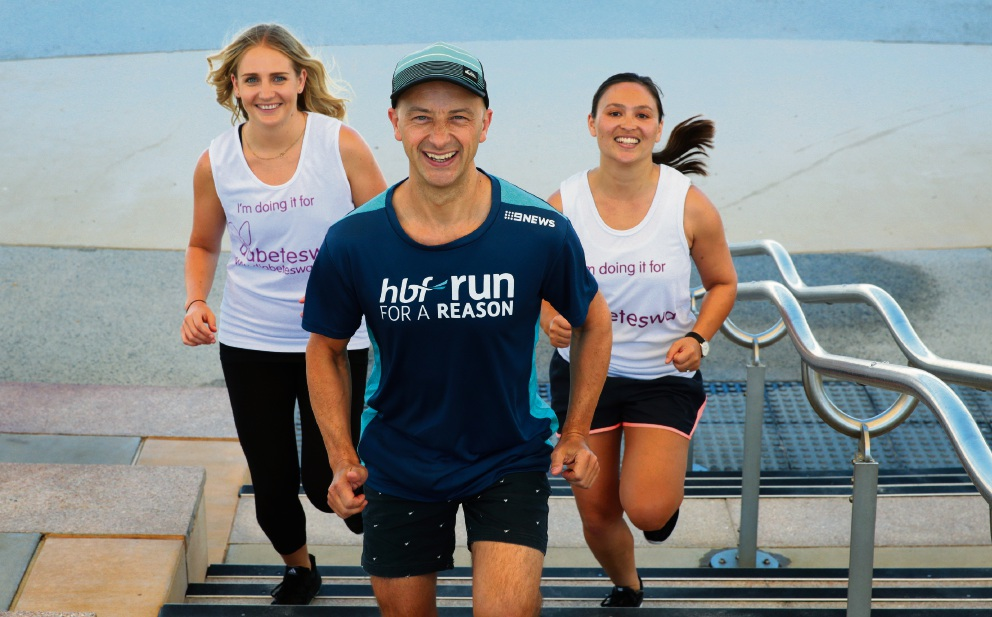 Matt Hale with Lindsay Cave and Jarnia Davies from Diabetes WA. Picture: Martin Kennealey