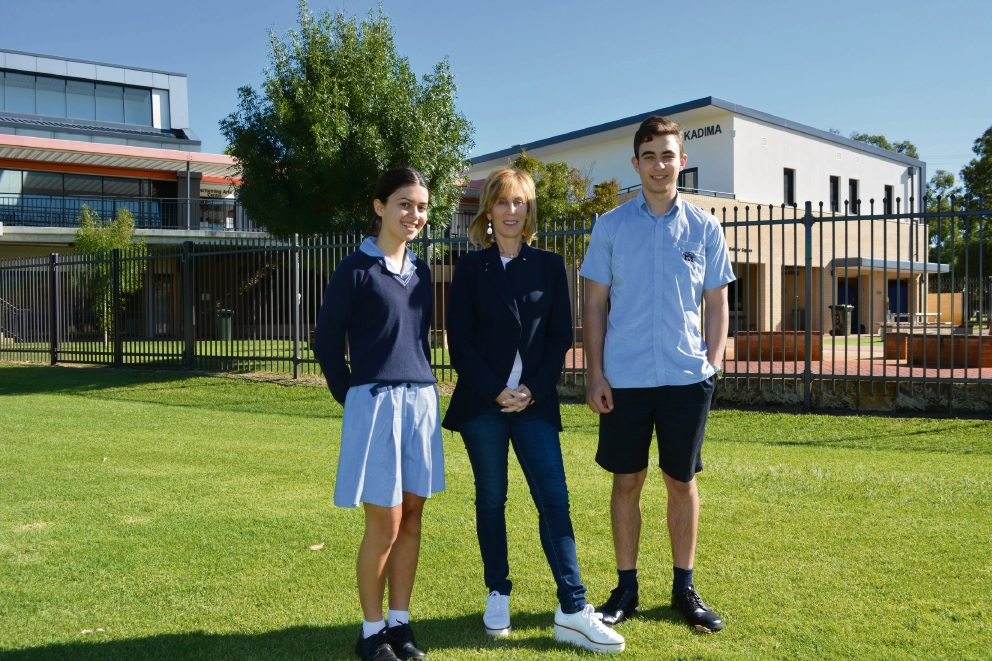 Carmel School head girl Rachel Hertzman, producer Nancy Spielberg and head boy Jacob Posel. Picture: Kristie Lim
