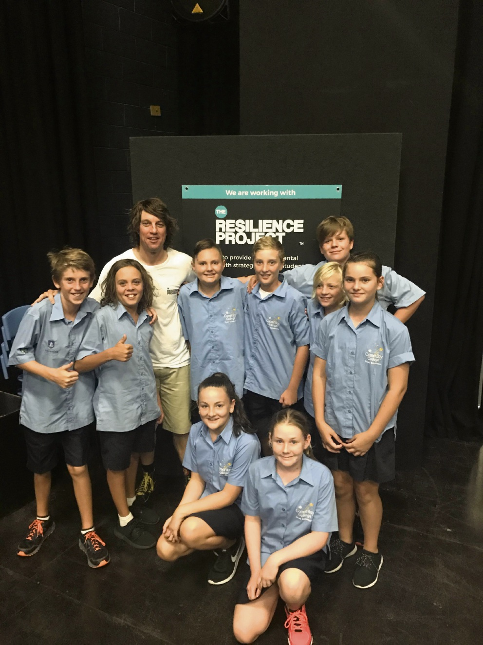 The Resilience Project presenter Martin |Heppell with Comet Bay College students.