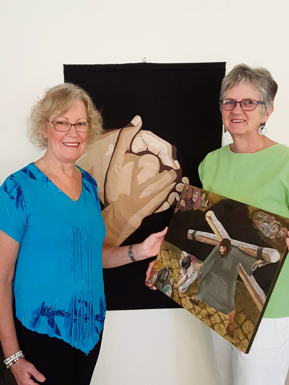Potter Gwen Brennan and curator  Yvonne  Wadley with some of the art work that will be on show.
