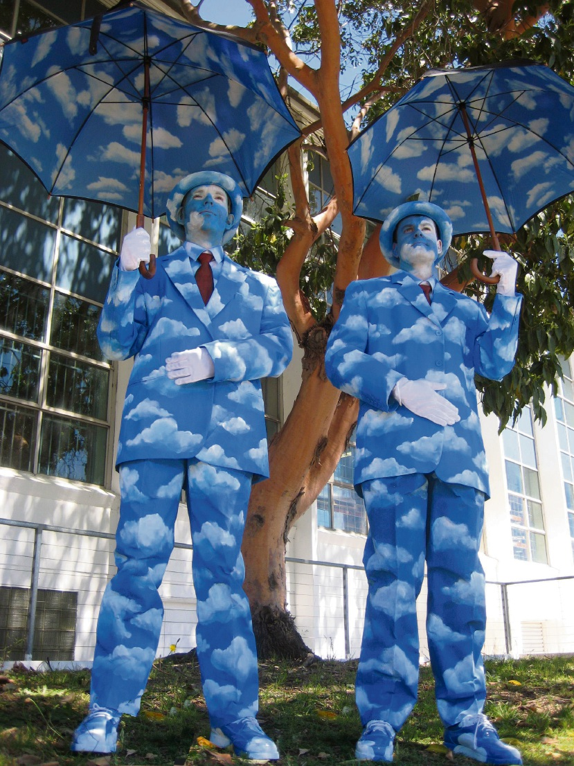 Cloudmen, described as walking works of art, were inspired by Belgian surrealist artist Rene Magritte.
