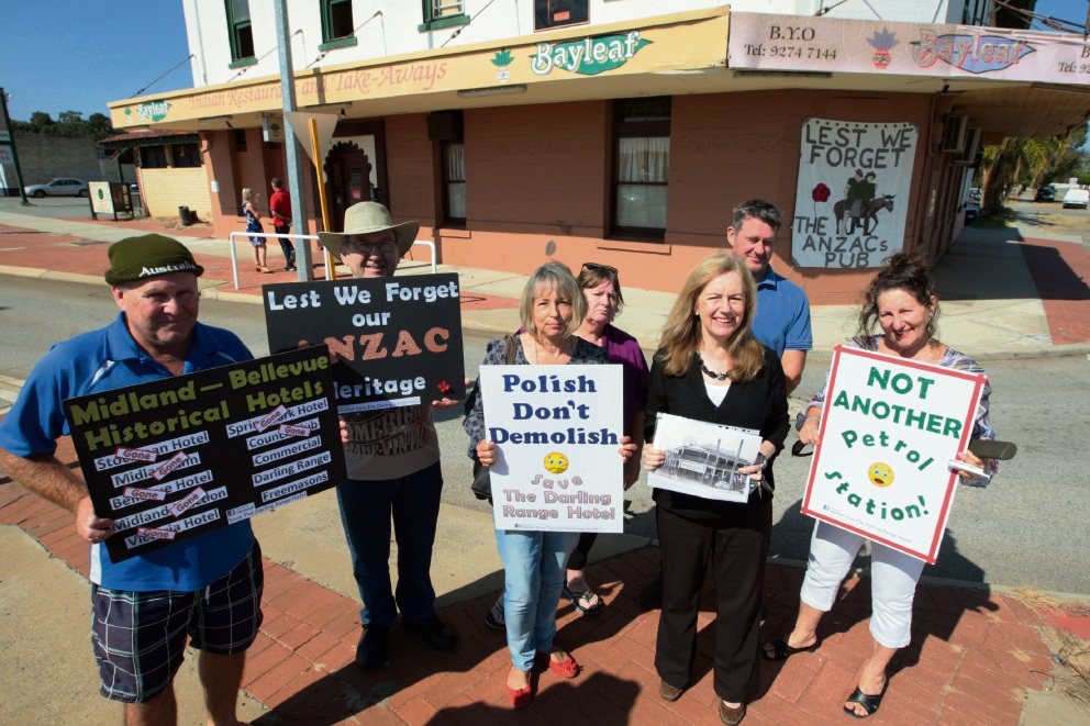 Bellevue Ratepayers Association secretary Dianne Arvino (centre) with Julie Matheson and local residents against the proposed service station. Picture: Bruce Hunt