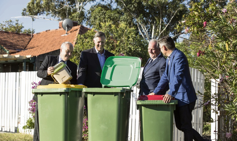 Melville Mayor Russell Aubrey, South Metropolitan Regional Council chairman Cameron Schuster, East Fremantle Mayor Jim O'Neill and Fremantle Mayor Brad Pettitt check out the new bins.