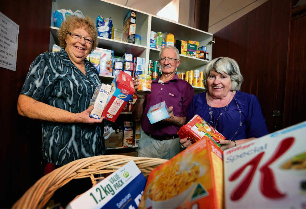 Christine Brackley, Mike Salmon and Audrey Baker, all are volunteers for the Ascension Emergency Food Relief service at the Ascension Church in Midland. Picture: David Baylis