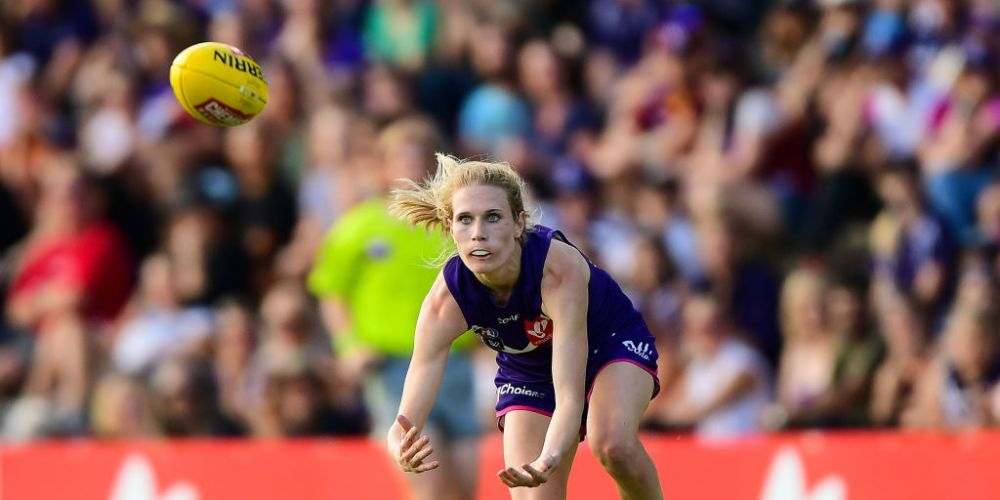 Dana Hooker won the inaugural Dockers AFLW club champion award. Picture: Daniel Carson/AFL Media/Getty Images
