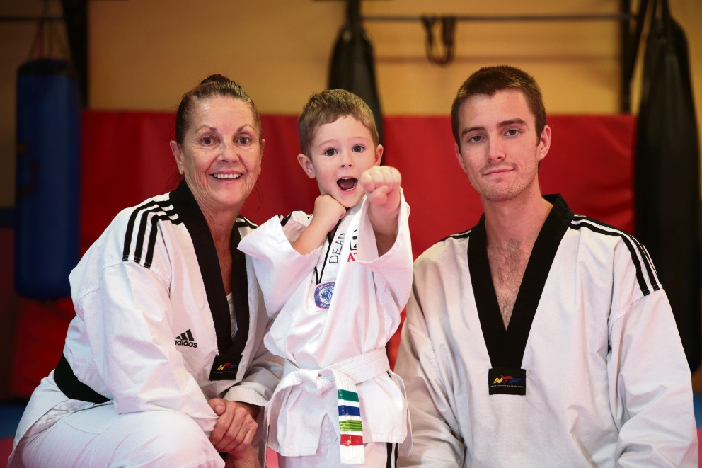 All in the family... Jenny Duckworth, her son Michael and his son Dean (3) all take part in martial arts. Picture: Martin Kennealey        www.communitypix.com.au   d466669