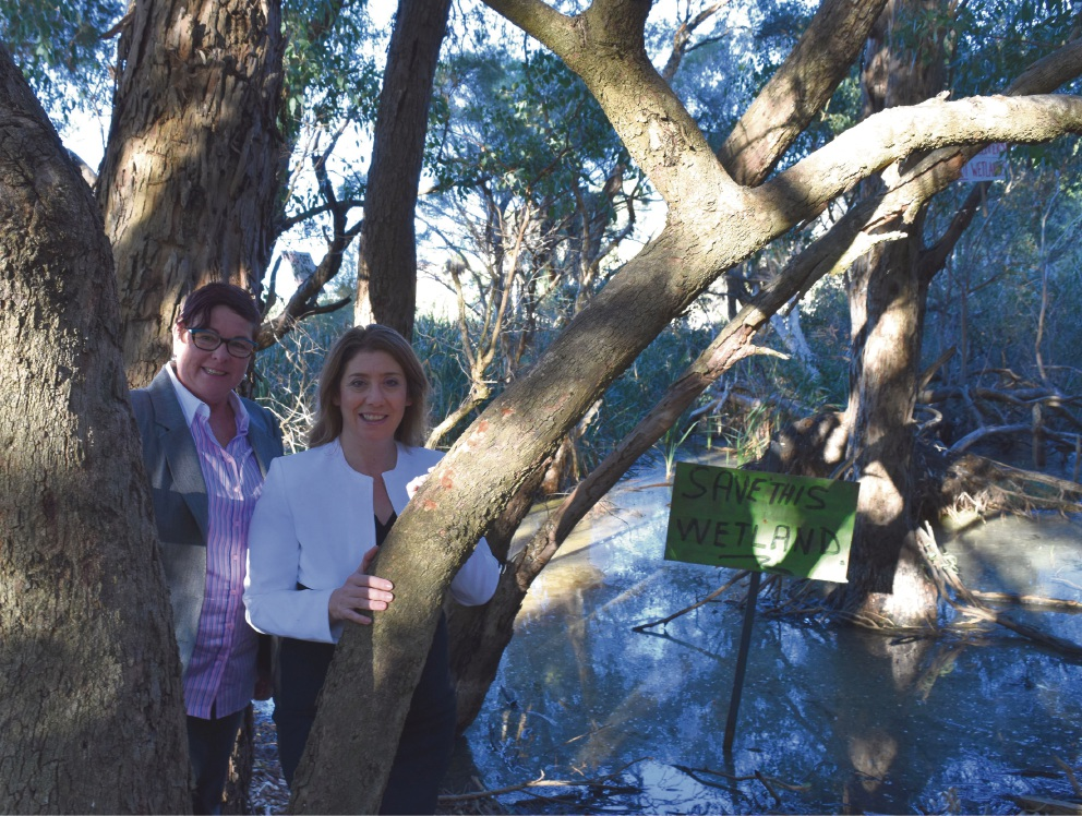 Maylands MLA Lisa Baker and Planning Minister Rita Saffioti at the wetlands.