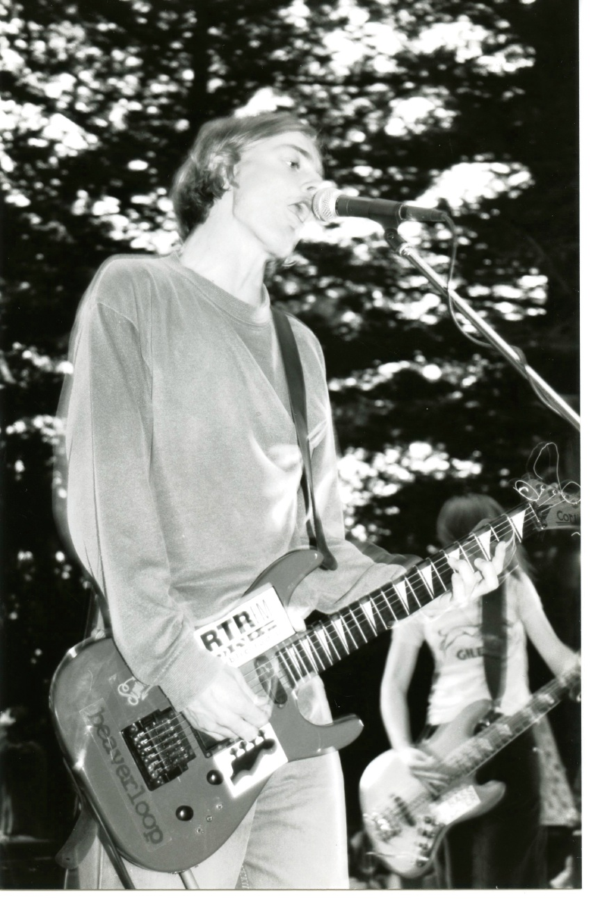 Jebediah's Kevin Mitchell performing at RTRFM's In The Pines in 1996.