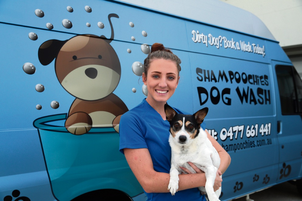 Shampoochies Dog Wash owner Katie Wright with Hunny. Picture: Martin Kennealey www.communitypix.com.au   d467752