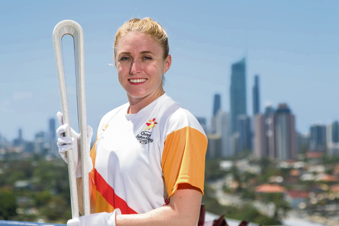 2018 Commonwealth Games ambassador Sally Pearson with the Queen's baton.