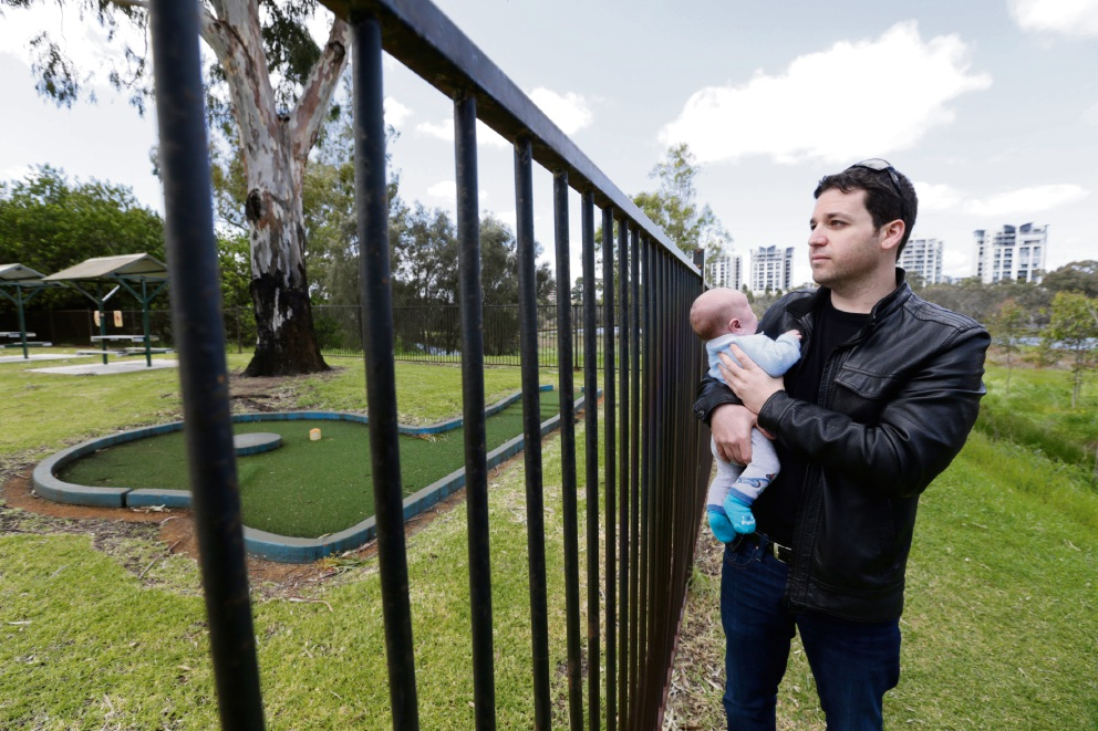 Elli Peterson-Pik with his son. Picture: Andrew Ritchie