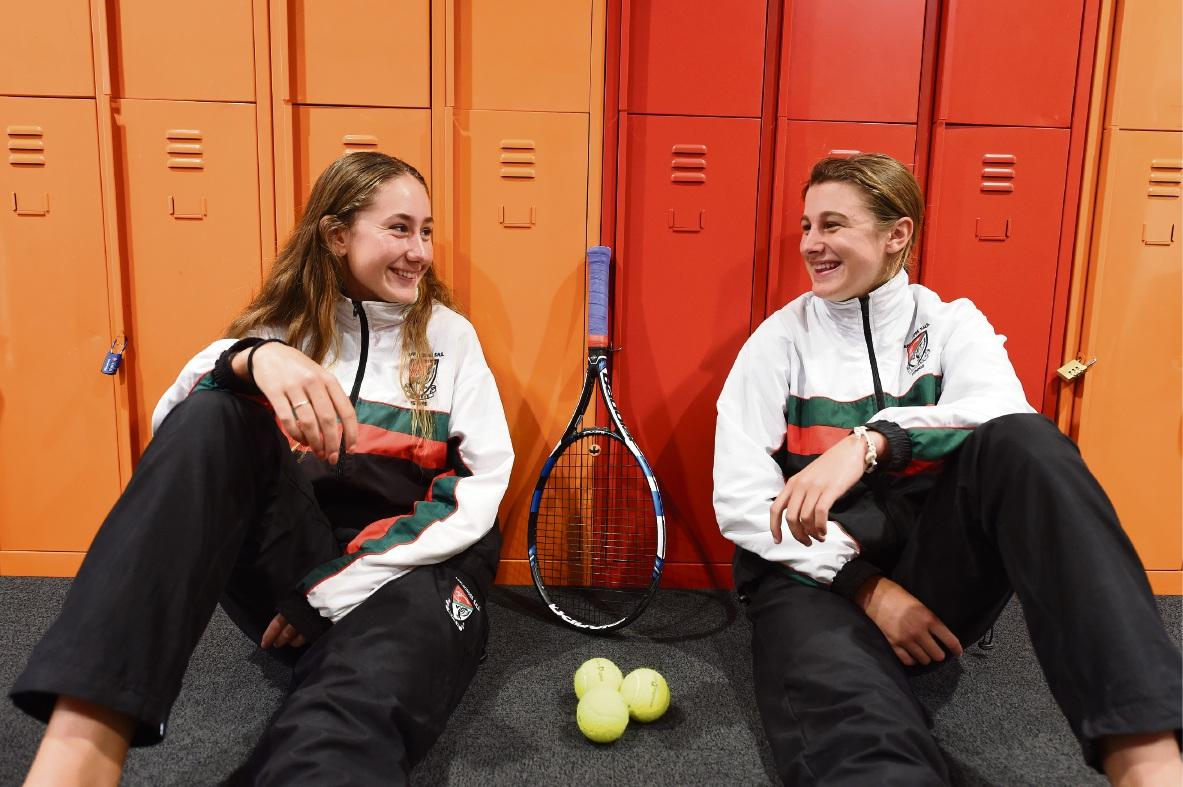 Applecross SHS Pizzey Cup representatives Hayley Burton and Tara Gilich. Picture: Jon Hewson