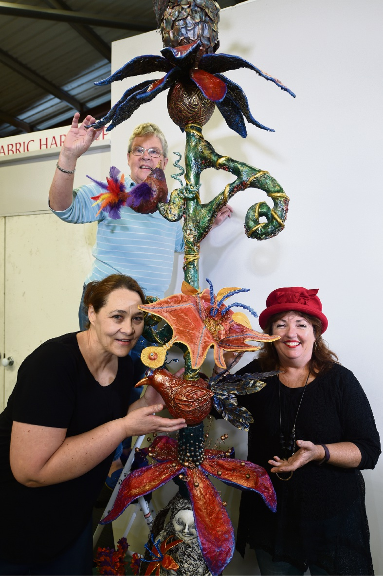 Artists Liezl Collins, Sue Calderbank and Ashley Hay. Picture: Jon Hewson d468123