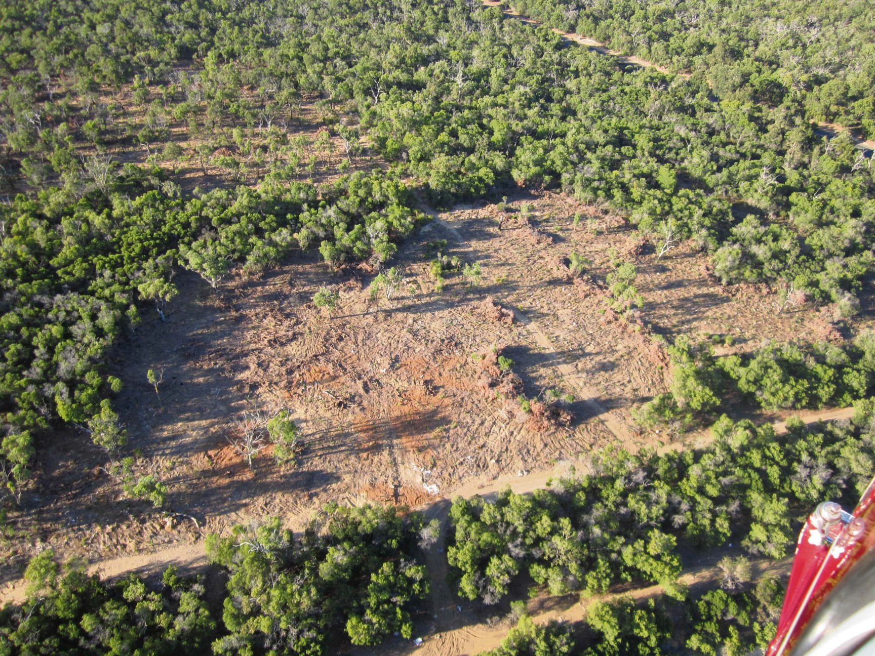 An aerial image showing the 18ha cleared.