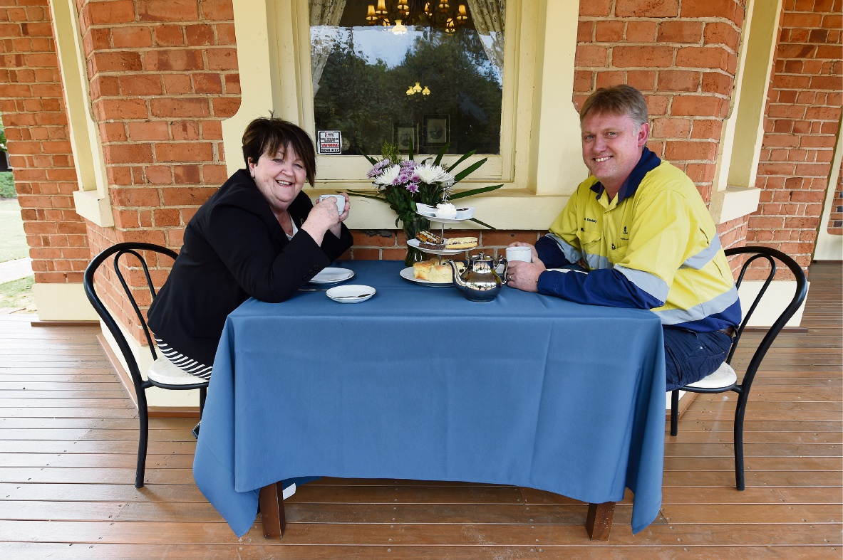 Pinjarra Shire President Maree Reid and Alcoa production manager Tom Duxbury at Edenvale. Picture: Jon Hewson