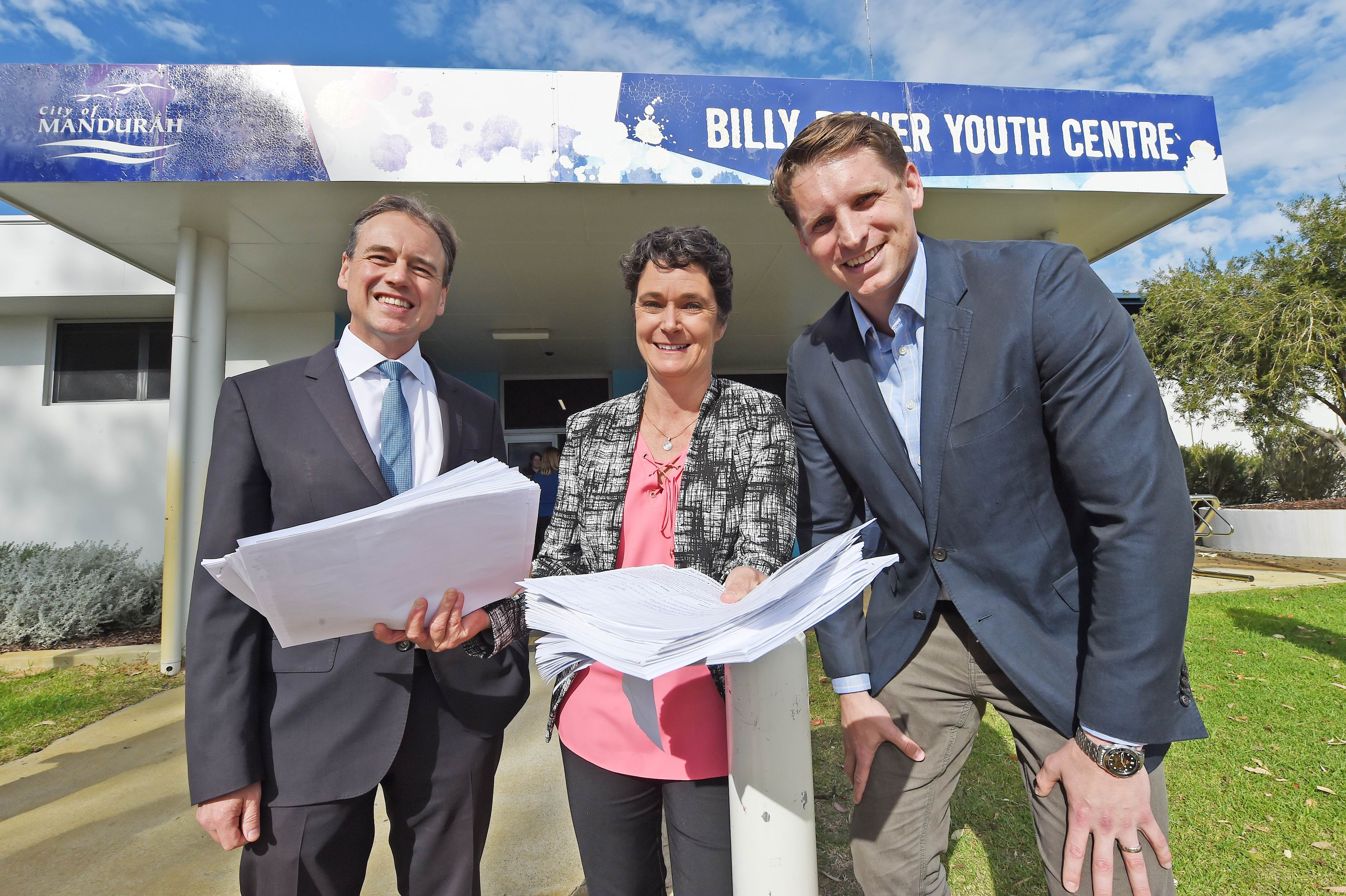 L to R - Federal Health Minister Greg Hunt, Eleanor Britton (GP Down South) and Canning MP Andrew Hastie