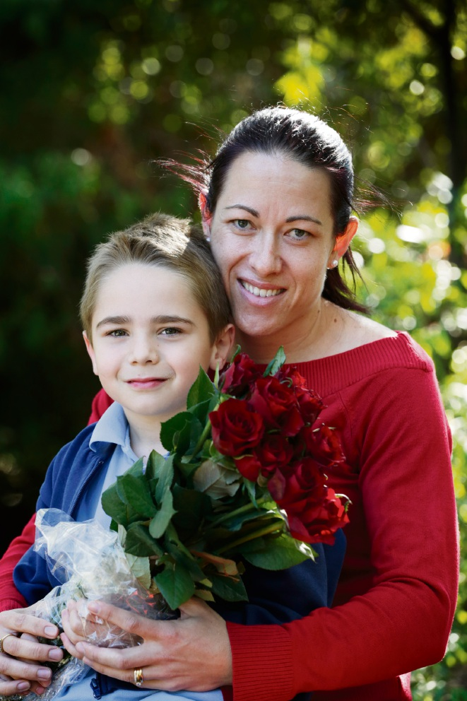 David Spaapen (6) and his mother Kate Spaapen with red roses. May is the month dedicated to raising awareness of Cystic Fibrosis internationally. As part of the 65 Roses campaign, this year's 65 Roses Day will take place on Friday May 26. Picture: Andrew Ritchie