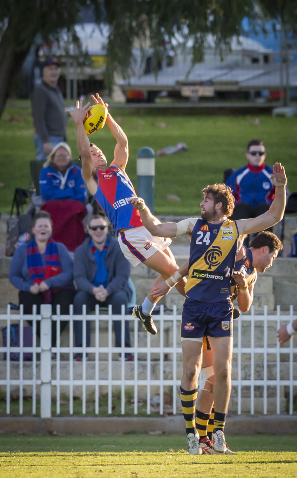 Steve Potente with an impressive mark against Claremont. Picture: Dan White