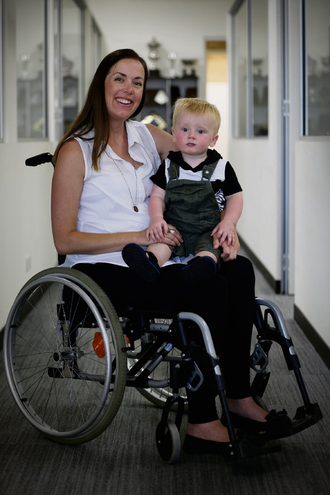 Terri Carr with son Tate Carr. Terri spent a day in a wheelchair to raise money for Rebound WA and to get a small insight into the experience of living with a disability and dealing with the challenging daily issues of accessibility. Picture: Andrew Ritchie
