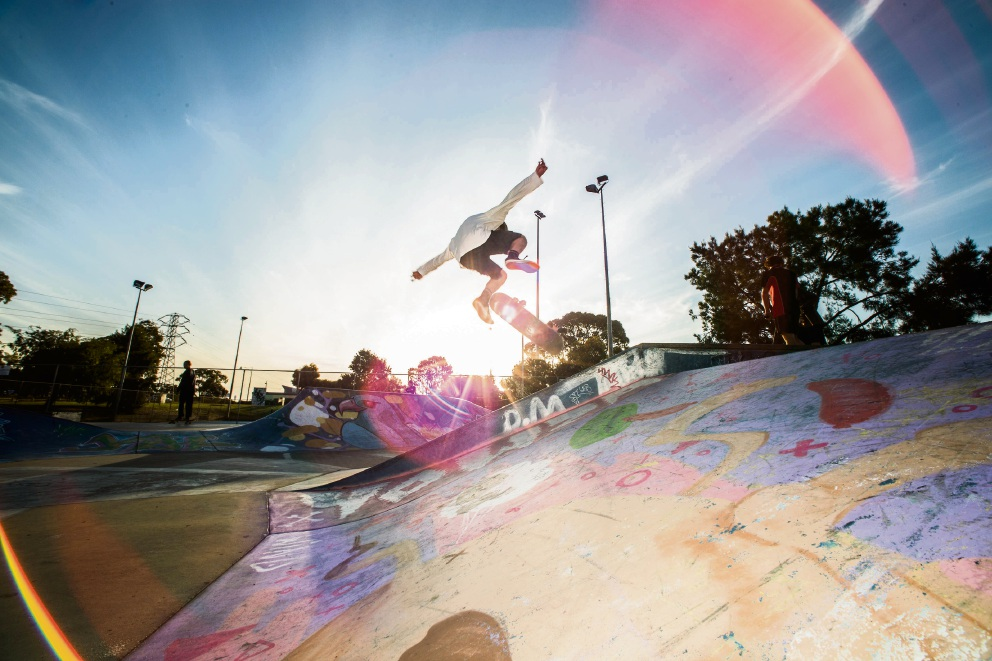 Reuben Delany-Dillon using the Coolbellup Skate Park.
