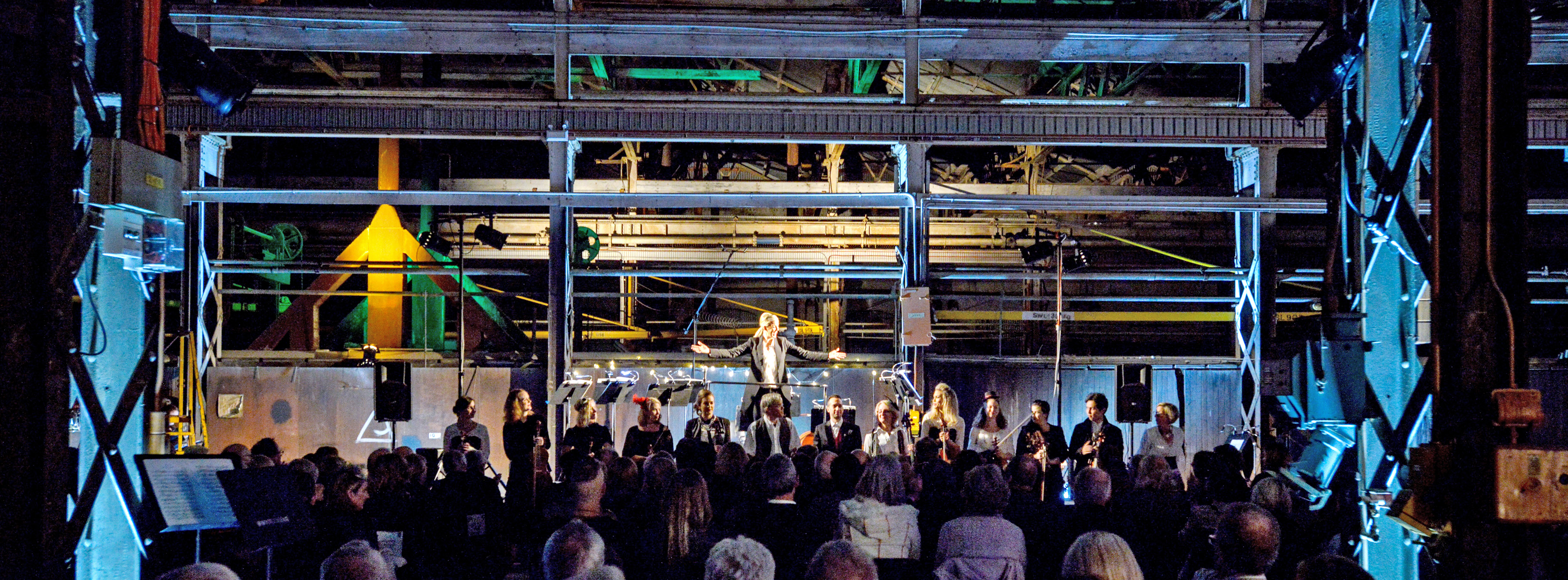 Artistic director and conductor Jessica Gethin with Perth Chamber Orchestra performing at the Midland Railway Workshops. Picture: Richard Jefferson