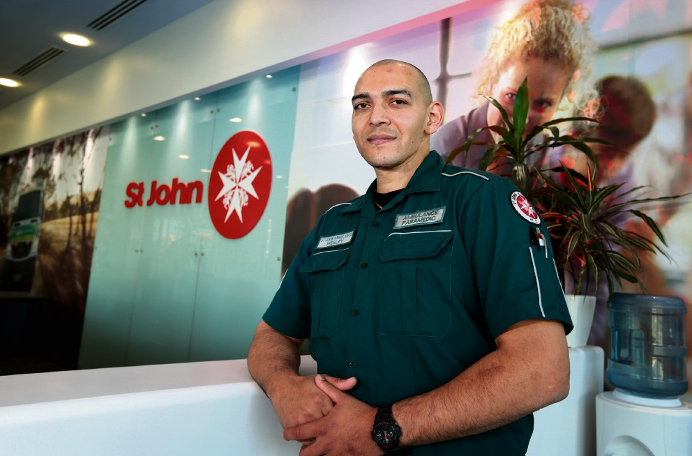 Wesley Ackerman has already spent a month on light duties with St John Ambulance at the  Belmont headquarters as part of his recovery. Picture: David Baylis www.communitypix.com.au   d470453