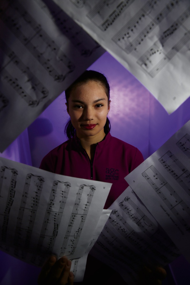 Mt Hawthorn student Caitlin Adriansz has been chosen to travel with the Australian Girls Choir on its national tour to Victoria and Tasmania. Picture: Andrew Ritchie d470408