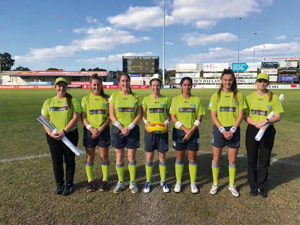 Peel Football Umpires Association made history fielding WA's first ever all-female umpiring crew