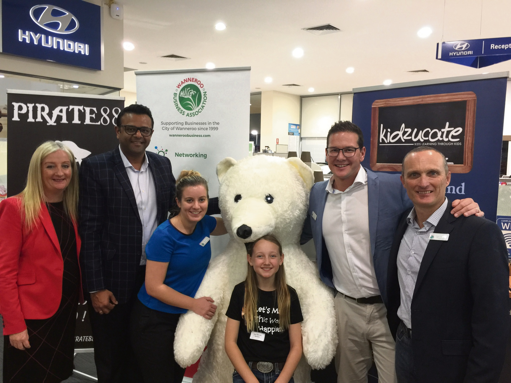Wanneroo Mayor Tracey Roberts, Wanneroo Business Association's Dinesh Aggarwal and Lauren McGee, Kidzucate founder Sian Williams, association president Trent Carter and vice-president Peter Armstrong.