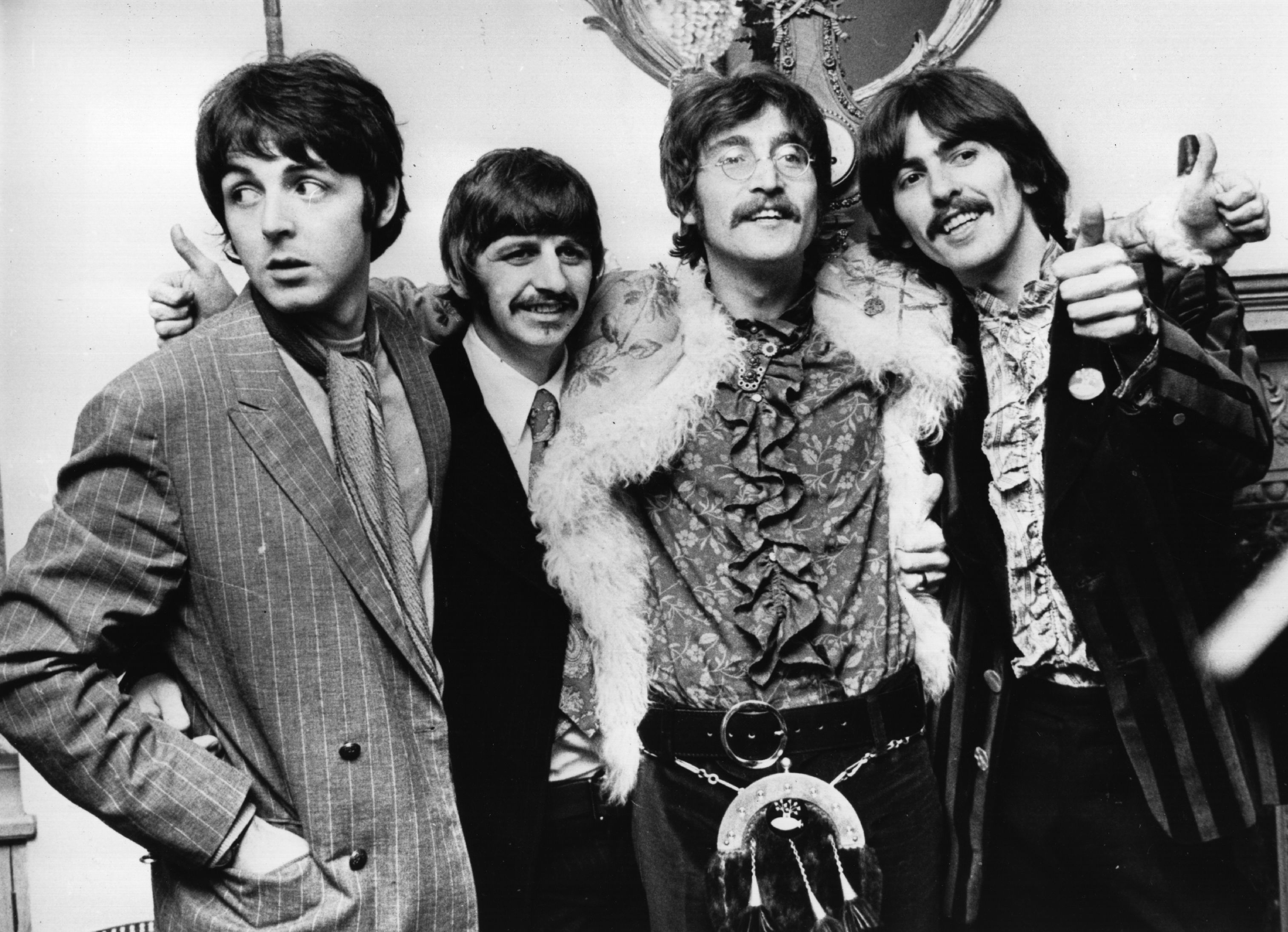 19th May 1967:  The Beatles celebrate the completion of their new album, 'Sgt Pepper's Lonely Hearts Club Band'. Photo: Getty