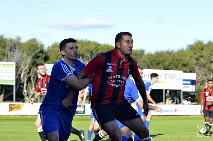 Cockburn City going head to head with Armadale. Picture: Jonny Warrington