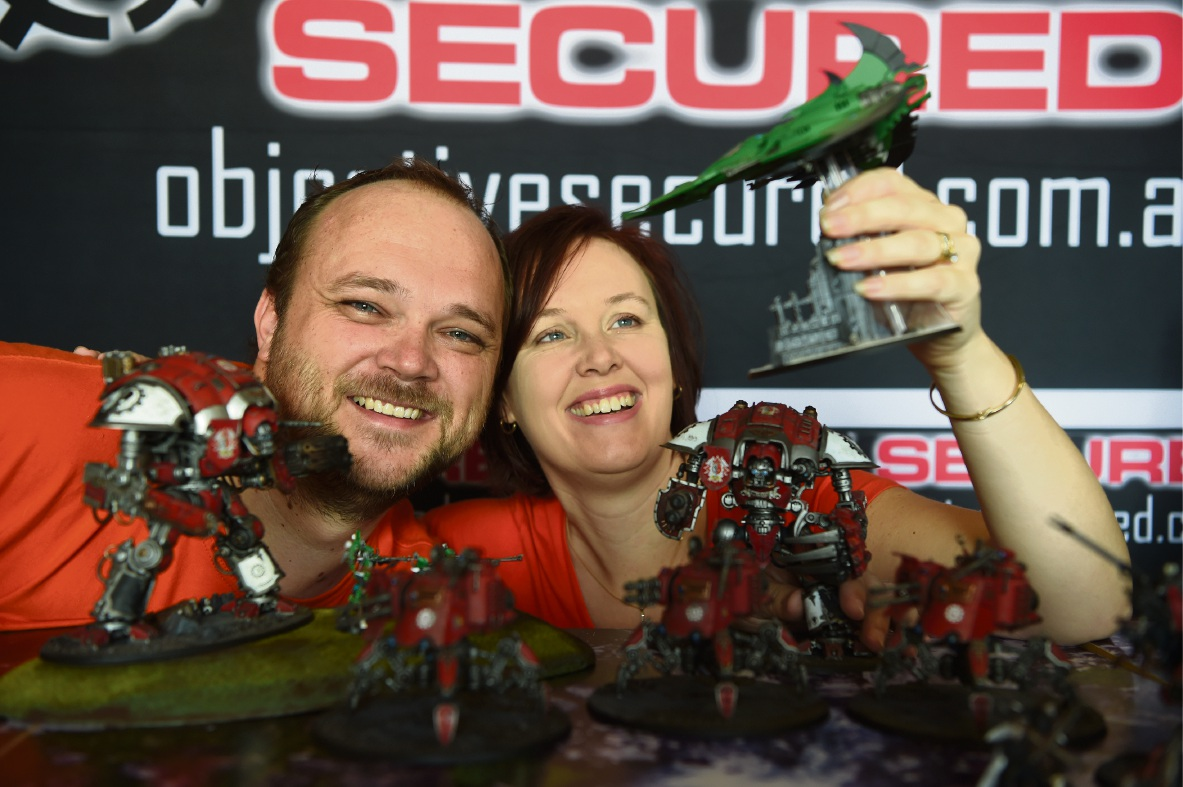 Michael and Emma Basc run Warhammer 40k events. Picture: Jon Hewson �������www.communitypix.com.au   d470728