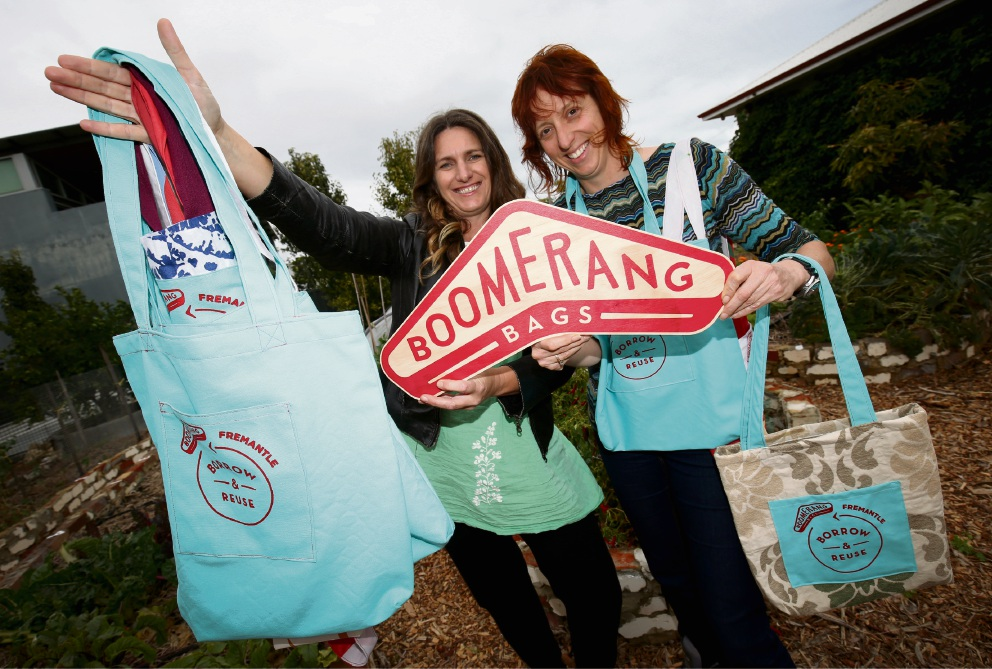 Kylie Wheatley and Shani Graham doing their bit to save the environment with their Boomerang Bags, made out of recycled materials. Picture: Matt Jelonek �������d470822