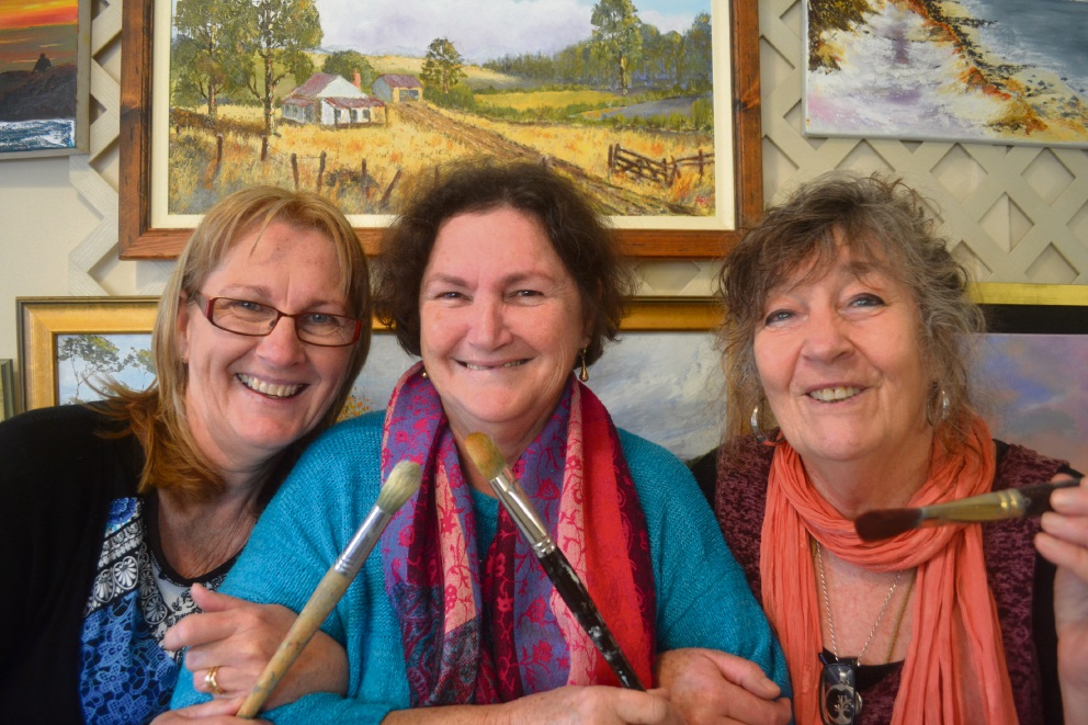 Armadale Society of Artists president Anna Newbey, treasurer Val Mezger and committee member Sandy Spindler.