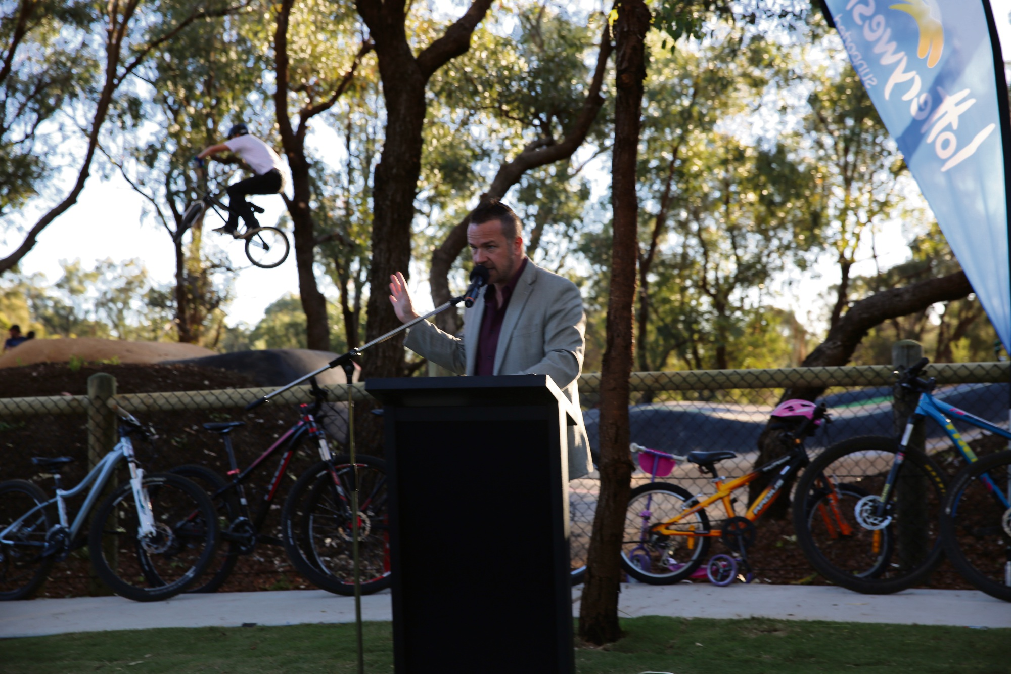 Joondalup Mayor Troy Pickard opens the new track.