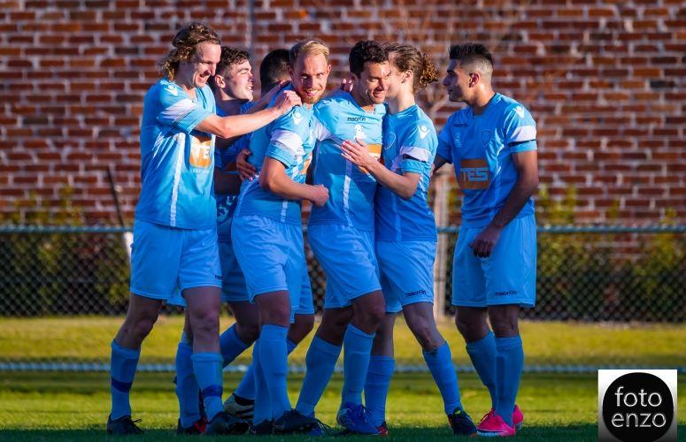 Perth SC celebrates its 5-0 win over Sorrento. Picture: Fotoenzo