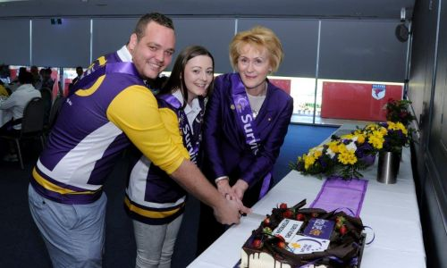 Amelia and Robi cutting the Relay Cake with Cancer Council WA Patron, Her Excellency Kerry Sanderson, Governor of WA. Photo: supplied